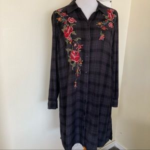 Plaid Flannel Shirt Dress Floral Embroidery 0x